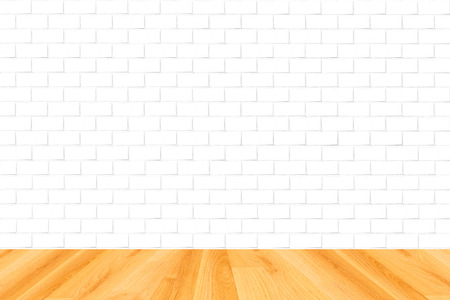 wood floor and white brick wall background photo
