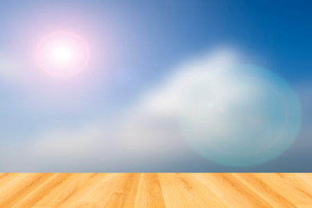 wood floor and abstrct sky background photo