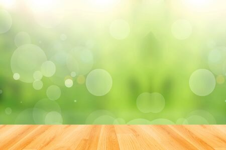 blink: wood floor and abstract green bokeh background Stock Photo