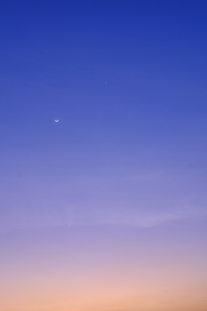 little moon on sky sunset nature background soft focus