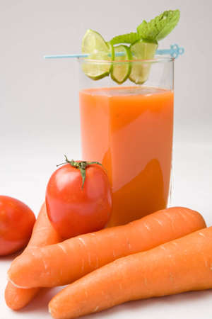 nonfat: Tomato and carrot juice for a good healthy Stock Photo