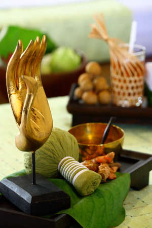 thai dessert: Thai traditional massage and Thai sculpture at the spa in Bangkok Stock Photo
