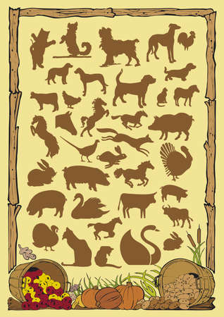 farm animals silhouettes Stock Vector - 9765956