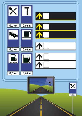 driving school: signs italian roads and motorways