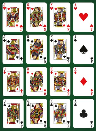 king and queen of hearts: Poker set with isolated cards on green background - High cards