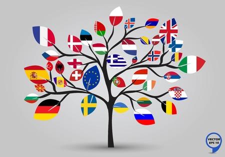 bandera de gran bretaña: Banderas de la hoja de europa en el árbol, ilustración, diseño vectorial Vectores