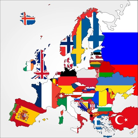 Highly Detailed Europe Map With Country Flags
