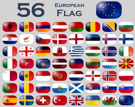 all european flags: Vector set of European flags in oval shape