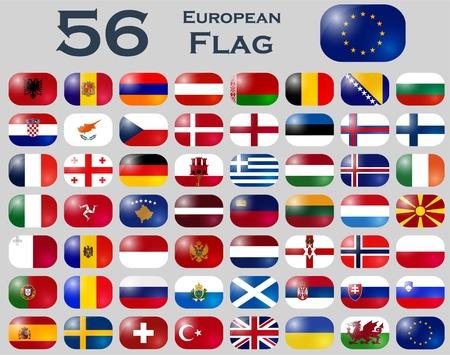 uk flag: Vector set of European flags in oval shape