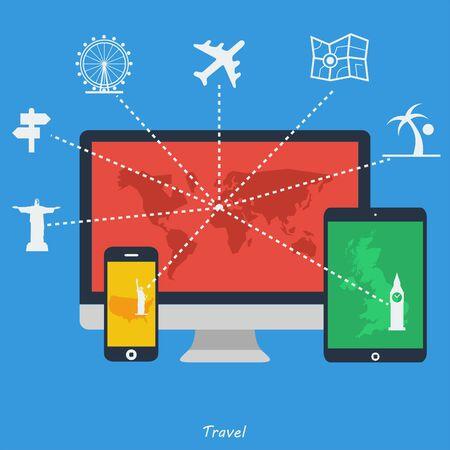 Flat design icons - Travel  Vector