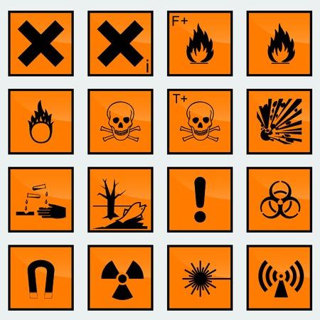 riesgo quimico: 16 peligros Común signo ilustración vectorial Vectores