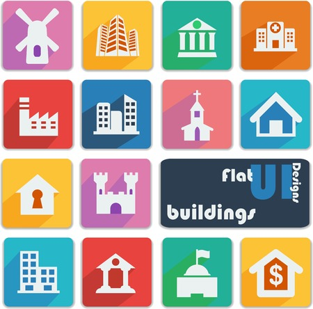 Flat ui design icons  Buildings   Vector