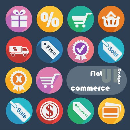 e money: Flat ui design icons - Commerce