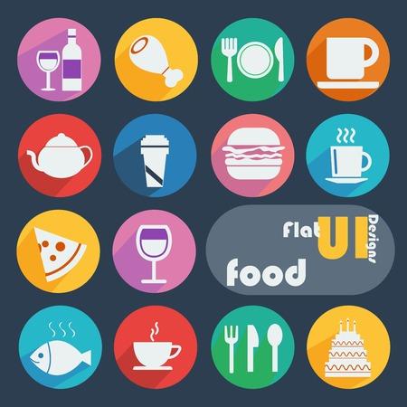 Flat design icon set - Food
