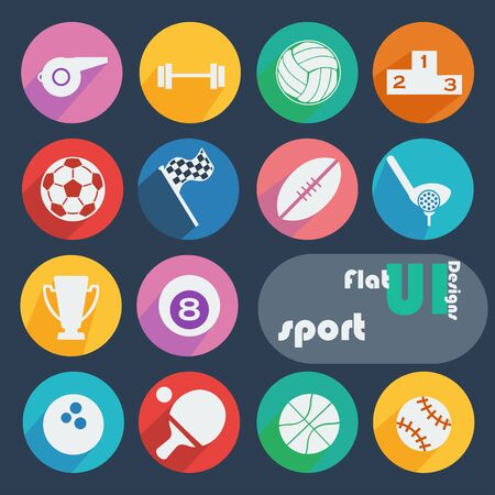 Flat design icon set - Sport  Vector