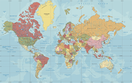 Detailed Political World map in Mercator projection. Clearly labeled. Separated layers.
