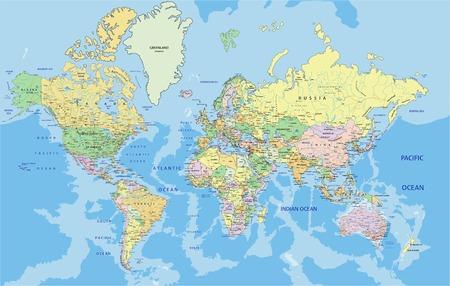 Bardzo szczegółowa polityczna mapa świata z etykietowaniem. Ilustracja wektorowa.