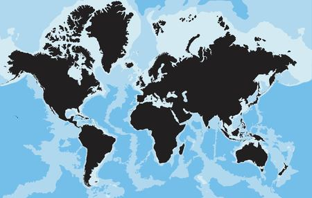 Highly detailed World map silhouette. Vector illustration.