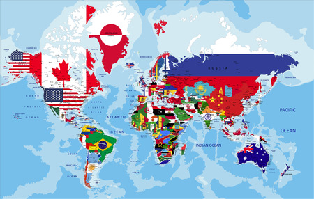 Political map of the world with country flags.