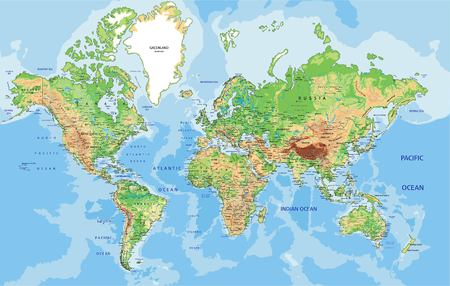 Highly detailed physical World map with labeling. Vector illustration. Vettoriali