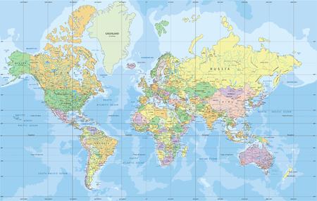 Politieke wereldkaart in Mercator-projectie.