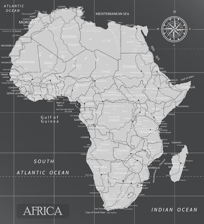 Africa minimal map with dark colors.