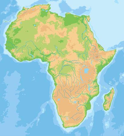 High detailed Africa physical map. Vektoros illusztráció
