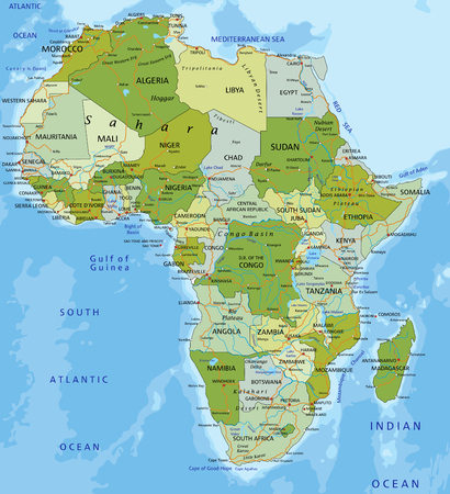 Highly detailed editable political map with separated layers. Africa. Ilustração