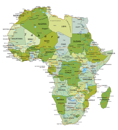 Highly detailed editable political map with separated layers. Africa. 向量圖像