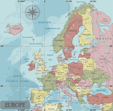 Detailed Europe Political map in Mercator projection. Clearly labeled. Separated layers. Ilustrace