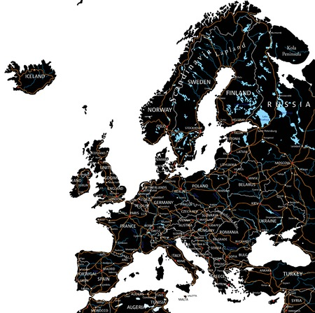 High detailed Europe road map with labeling - Black.(clearly labeled on separated layers)