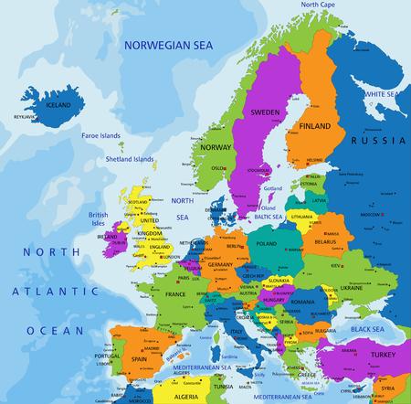 Mappa politica dell'Europa colorata con livelli separati chiaramente etichettati. Illustrazione vettoriale.
