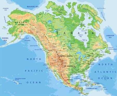Alto mapa físico detallado de América del Norte con etiquetado.