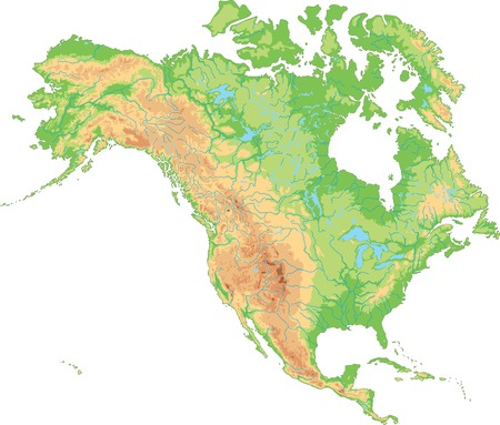 High detailed North America physical map. Çizim