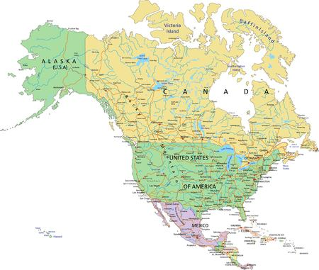 North America - Highly detailed editable political map with separated layers. Ilustração