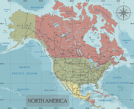 Detailed North America Political map in Mercator projection. Clearly labeled. Separated layers.