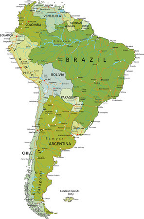 Highly detailed editable political map with separated layers. South America.