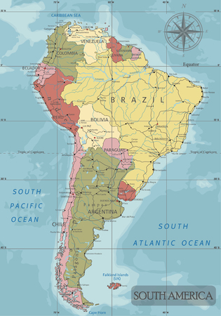 Detailed South America Political map in Mercator projection. Clearly labeled. Separated layers.
