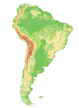High detailed South America physical map.