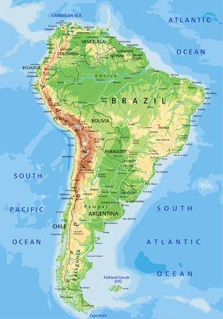 Hochdetaillierte physische Karte Südamerikas mit Beschriftung.