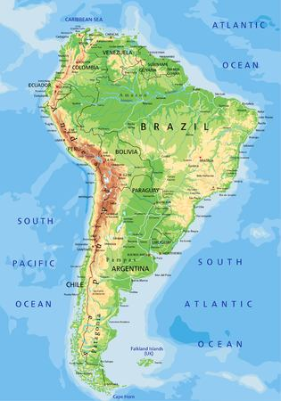 High detailed South America physical map with labeling.