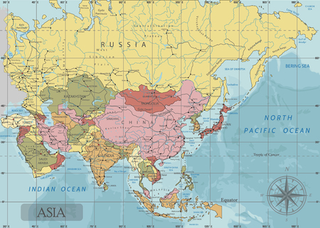 Detailed Asia Political map in Mercator projection. Clearly labeled. Separated layers.
