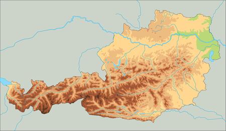 High detailed Austria physical map.