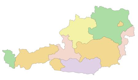 Austria - Highly detailed editable political map.