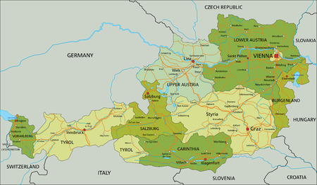 Austria - Highly detailed editable political map with separated layers.