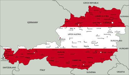 Austria highly detailed political map with national flag.
