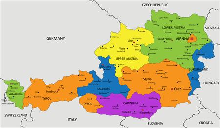 Colorido mapa político de Austria con capas separadas y claramente etiquetadas. Ilustración vectorial. Ilustración de vector