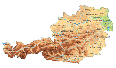 High detailed Austria physical map with labeling. Illustration
