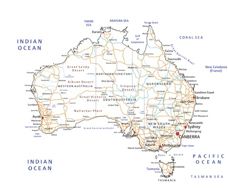 High detailed Australia road map with labeling. Illustration