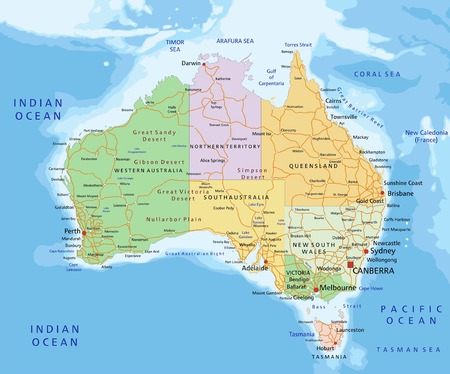 Australia - Highly detailed editable political map with separated layers. Vektorové ilustrace